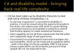 ca and disability model bringing back real life complexity