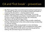 ca and first break prevention