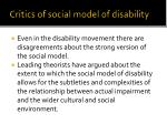 critics of social model of disability