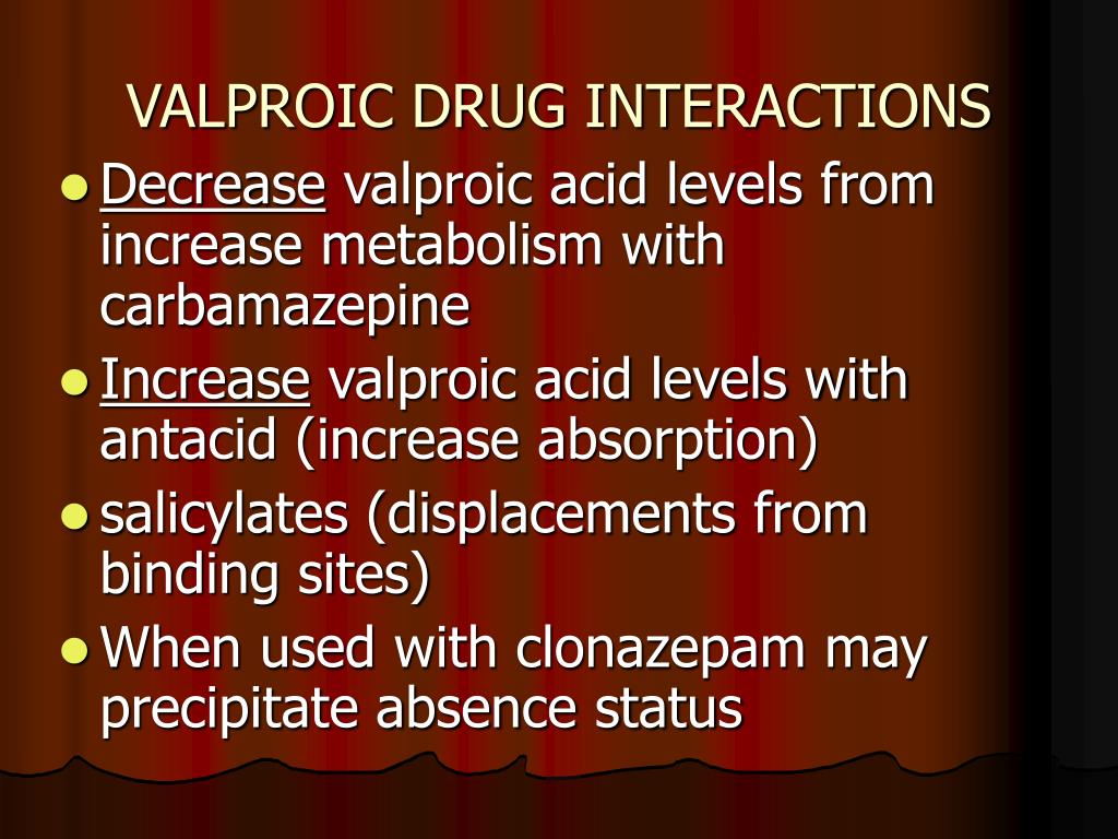 VALPROIC DRUG INTERACTIONS