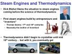 steam engines and thermodynamics