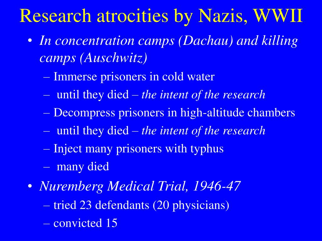 Research atrocities by Nazis, WWII