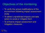 objectives of the monitoring