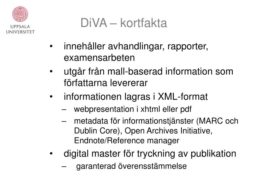 DiVA – kortfakta
