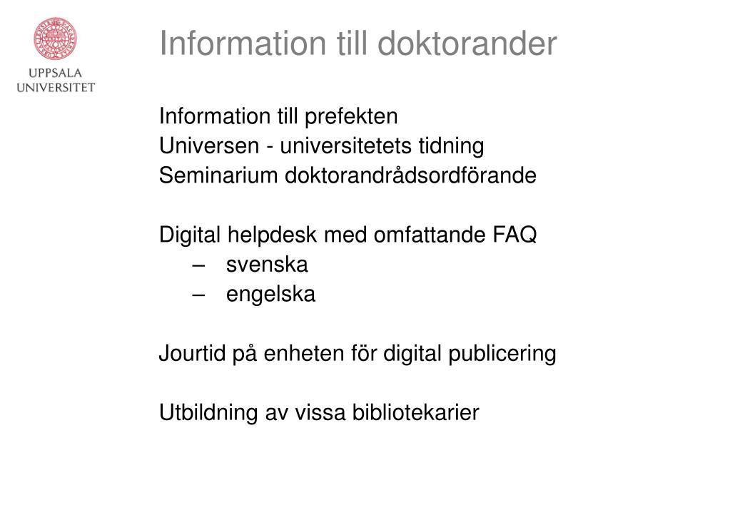 Information till doktorander