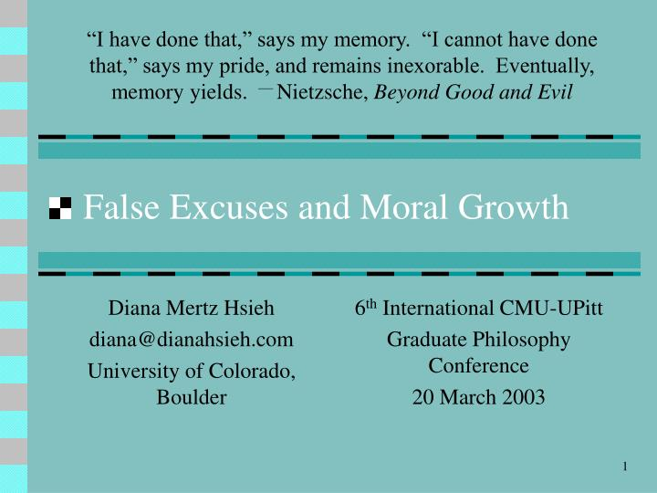 false excuses and moral growth n.