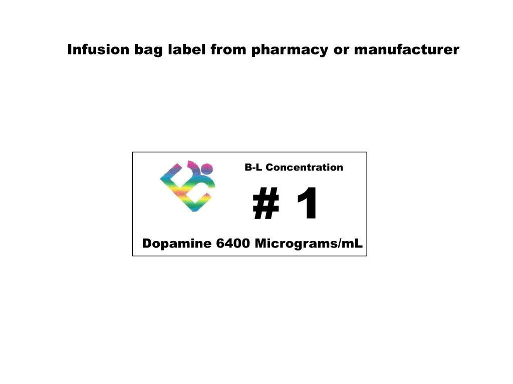 Infusion bag label from pharmacy or manufacturer