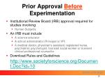 prior approval before experimentation20