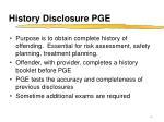 history disclosure pge