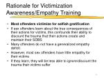 rationale for victimization awareness empathy training