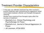 treatment provider characteristics