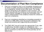 documentation of past non compliance