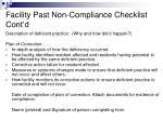 facility past non compliance checklist cont d