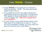 code triage disaster