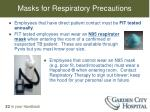 masks for respiratory precautions