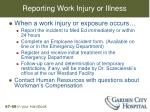 reporting work injury or illness