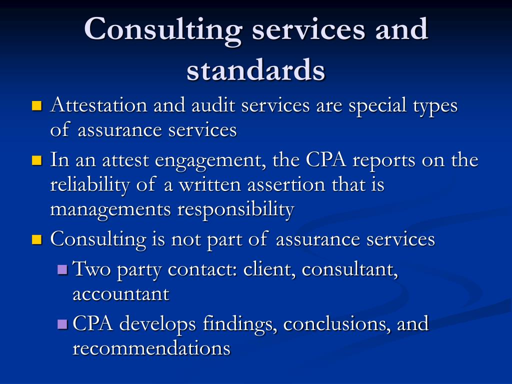 Consulting services and standards