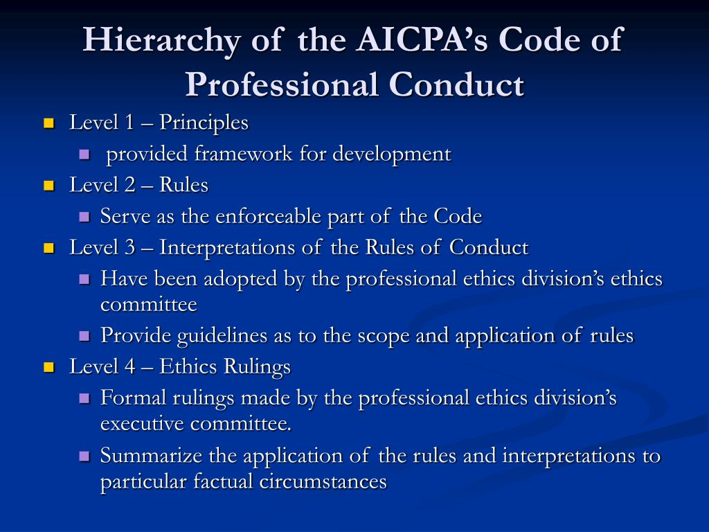 Hierarchy of the AICPA's Code of Professional Conduct