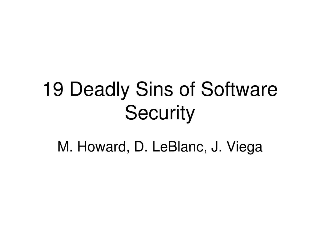 19 deadly sins of software security l.