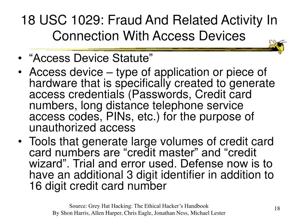 18 USC 1029: Fraud And Related Activity In Connection With Access Devices