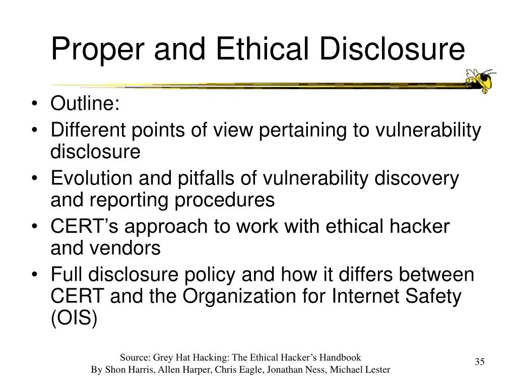 Proper and Ethical Disclosure
