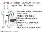 device description dexcom receiver long or short term use