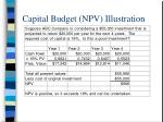 capital budget npv illustration