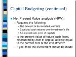 capital budgeting continued