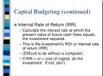 capital budgeting continued1