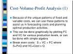 cost volume profit analysis 1