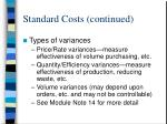 standard costs continued