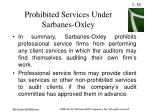 prohibited services under sarbanes oxley