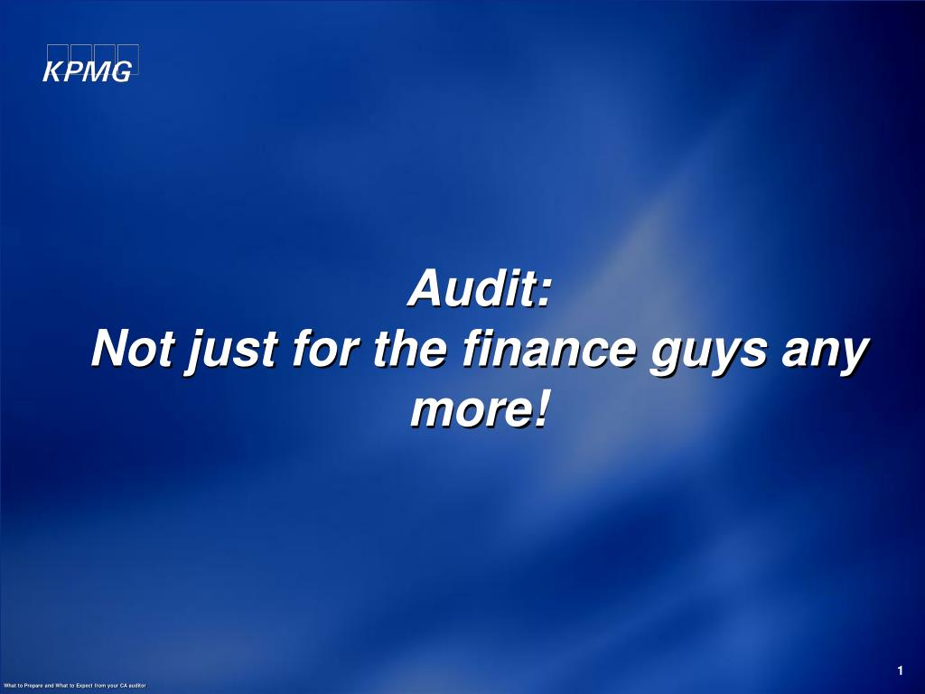 audit not just for the finance guys any more l.