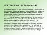 how supraregionalisation proceeds