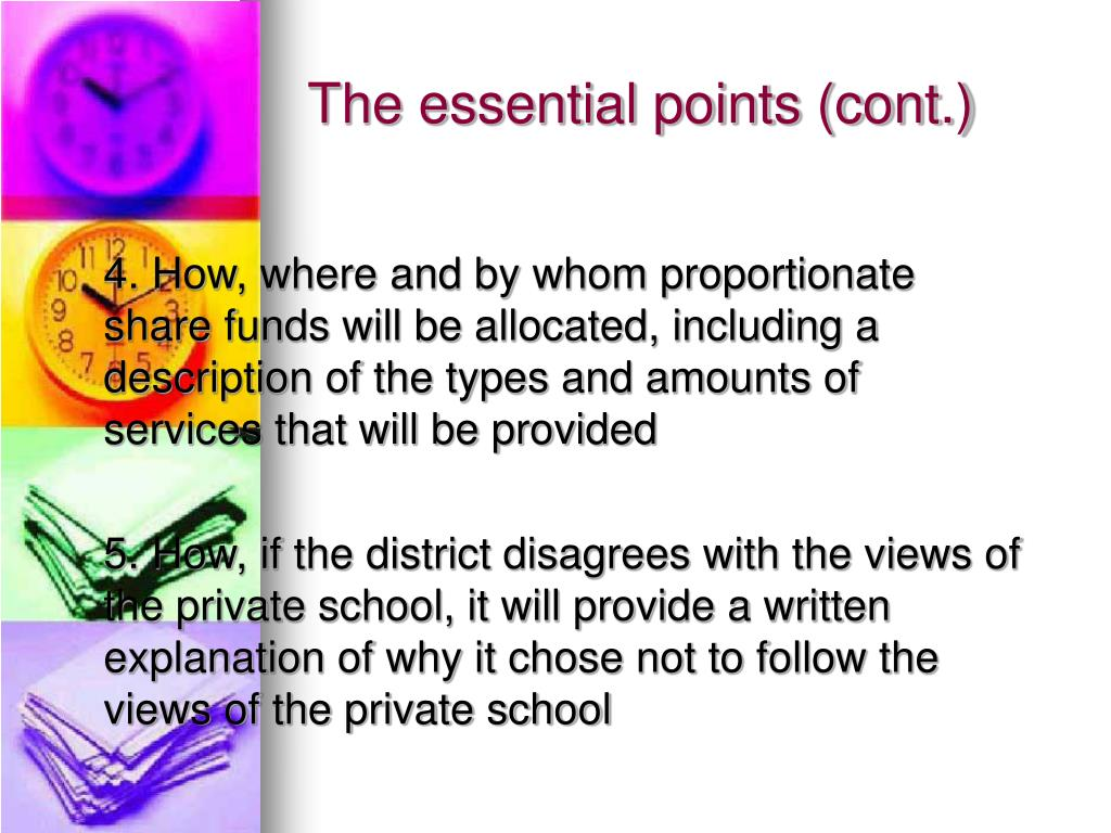 The essential points (cont.)