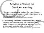 academic voices on service learning
