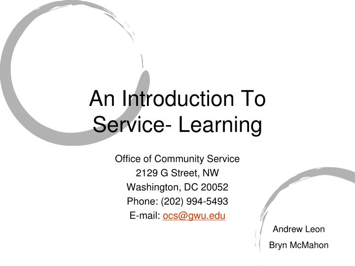 an introduction to service learning n.