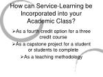 how can service learning be incorporated into your academic class