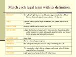 match each legal term with its definition