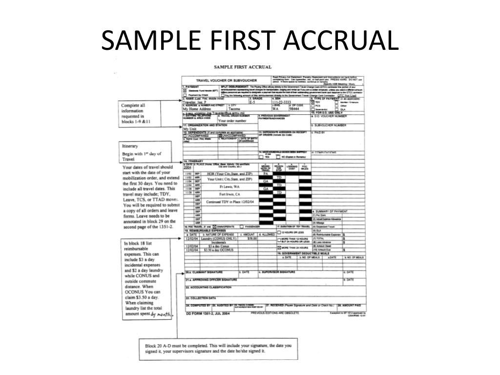 SAMPLE FIRST ACCRUAL