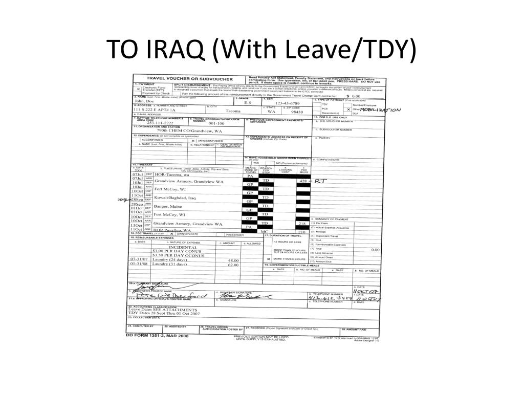 TO IRAQ (With Leave/TDY)