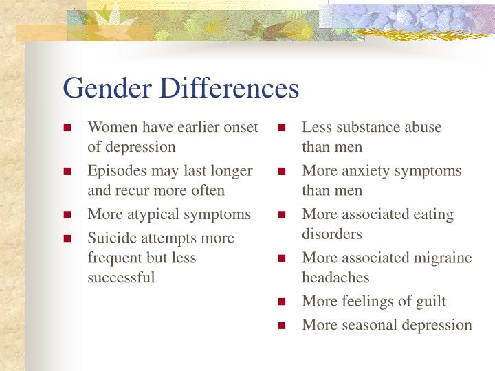 Women have earlier onset of depression