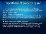 importance of piety by quran