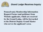grand lodge receives inquiry