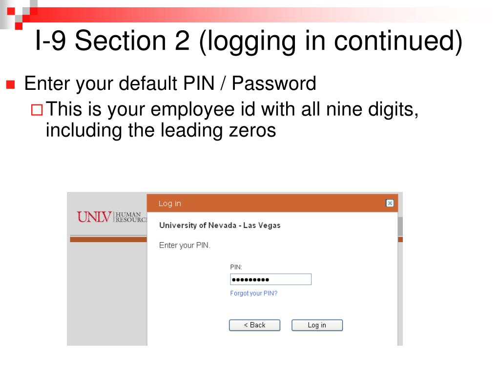 I-9 Section 2 (logging in continued)