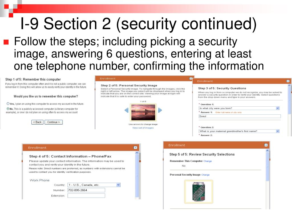 I-9 Section 2 (security continued)