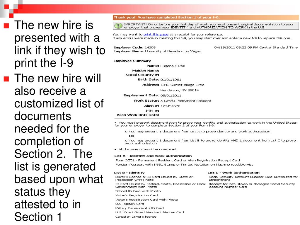 The new hire is presented with a link if they wish to print the I-9