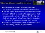 client certificates stored in browsers