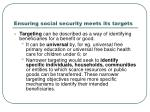 ensuring social security meets its targets