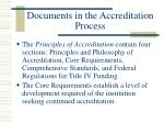 documents in the accreditation process9